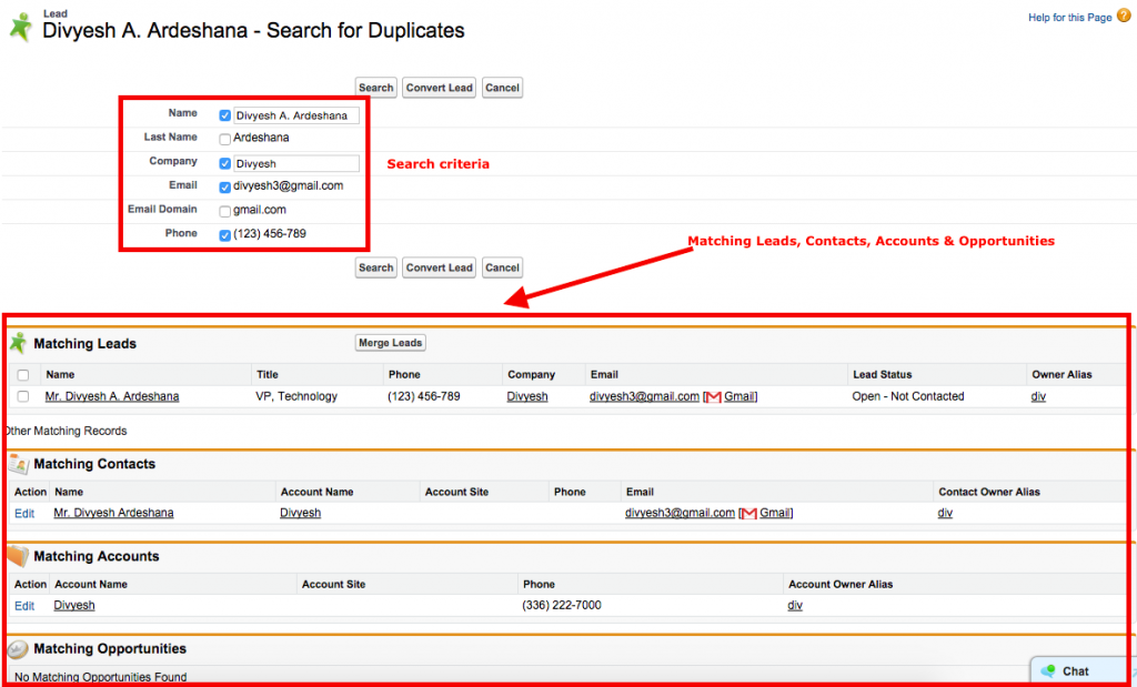Find Duplicate Lead