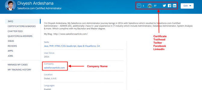 How to update your Salesforce Community Profile ?